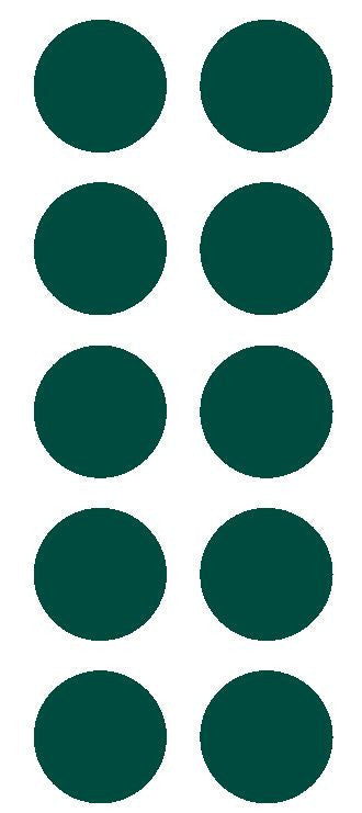 "2"" Dk Green Round Color Coded Inventory Label Dots Stickers - Winter Park Products"