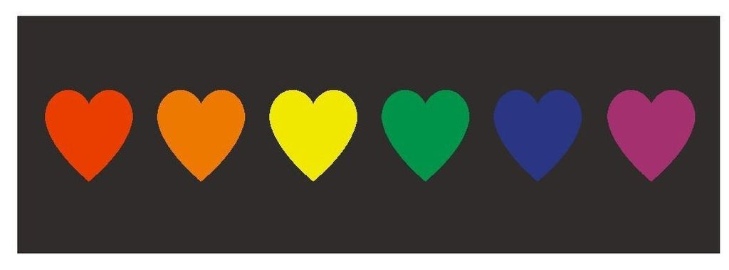 Rainbow Hearts Gay Rights Equality Bumper Sticker or Helmet Sticker D391 - Winter Park Products