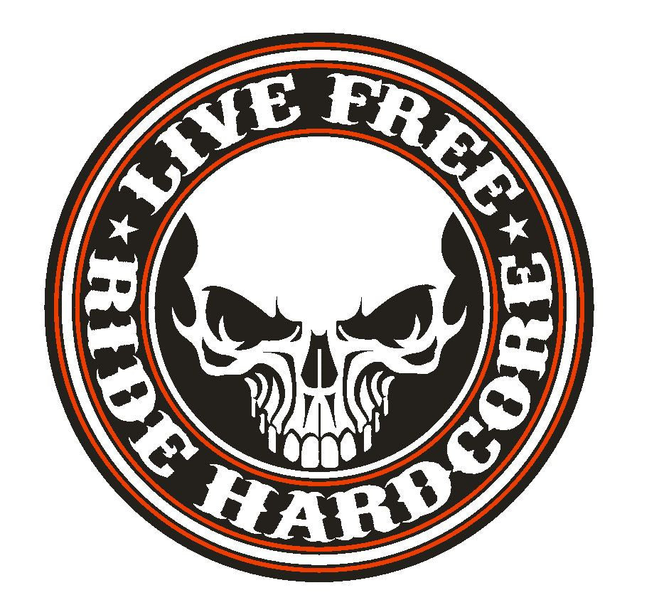 Live Free Ride Hardcore Motorcycle Vinyl Sticker R61 - Winter Park Products