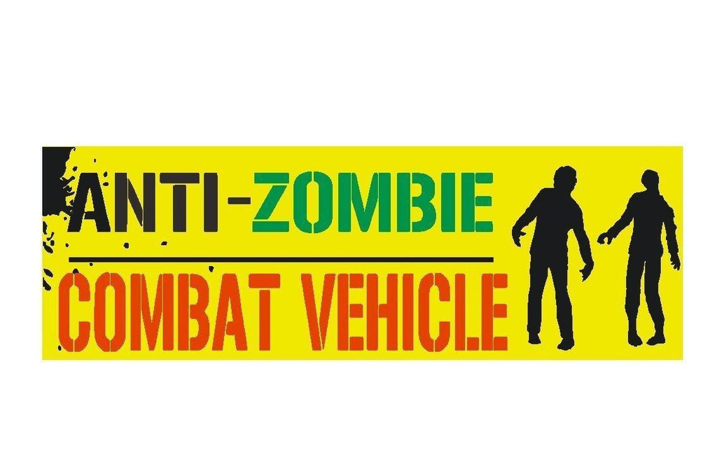 Anti zombie combat vehicle funny bumper sticker or helmet sticker d328