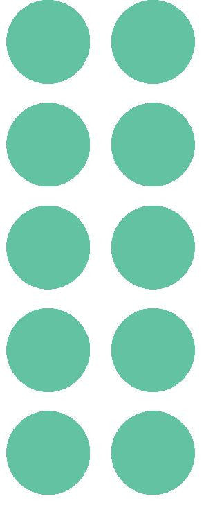 "1-1/2"" Mint Green Round Color Coded Inventory Label Dots Stickers - Winter Park Products"