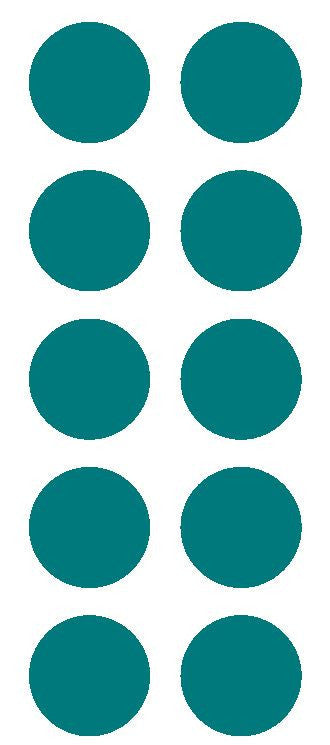 "2"" Turquoise Round Color Coded Inventory Label Dots Stickers - Winter Park Products"