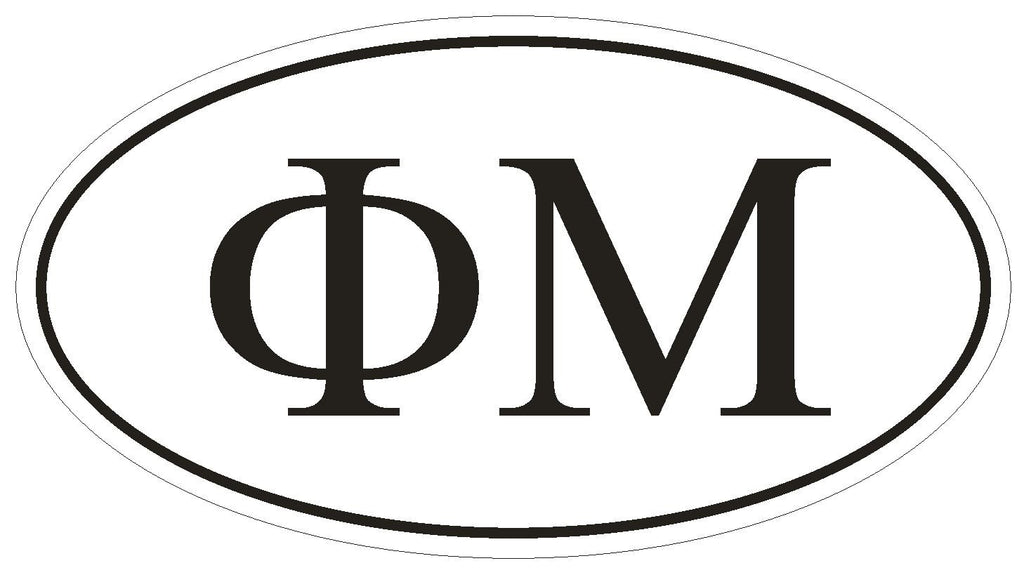 Phi Mu Sorority EURO OVAL Bumper Sticker or Helmet Sticker D574 - Winter Park Products