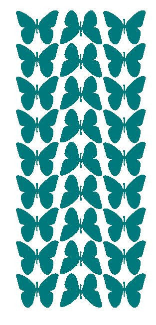 "Turquoise 1"" Butterfly Stickers BRIDAL SHOWER Wedding Envelope Seals School arts & Crafts - Winter Park Products"