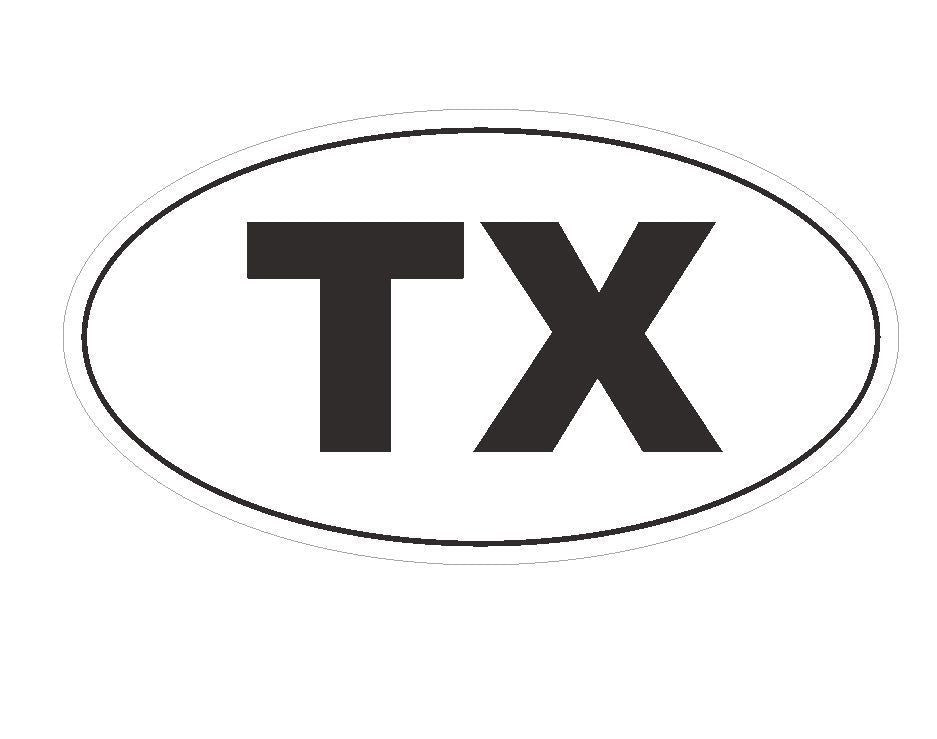 TX Texas EURO OVAL Bumper Sticker or Helmet Sticker D135 - Winter Park Products