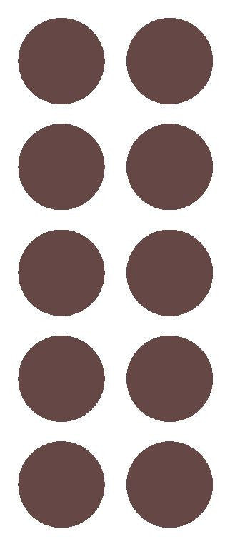 "1-1/2"" BROWN Round Color Code Inventory Label Dot Stickers - Winter Park Products"