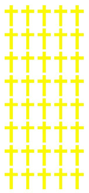 "1"" Lt Yellow Cross Stickers Envelope Seals Religious Church School arts Crafts - Winter Park Products"