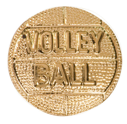 Gold Finish Metal Volleyball Pin TIE TACK Sport School Varsity Chenille Insignia - Winter Park Products