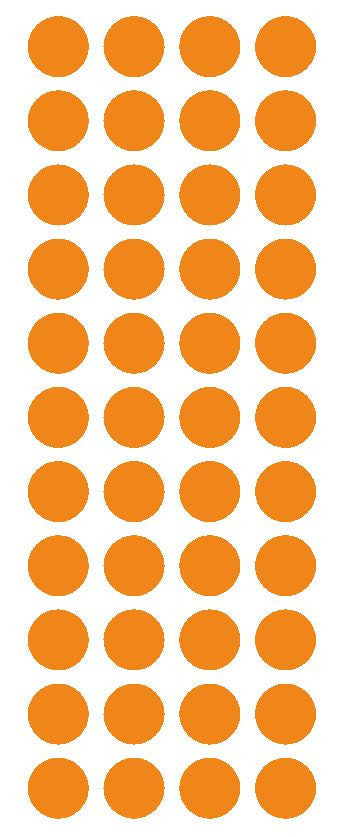 "3/4"" Light Orange Round Color Code Inventory Label Dot Stickers - Winter Park Products"