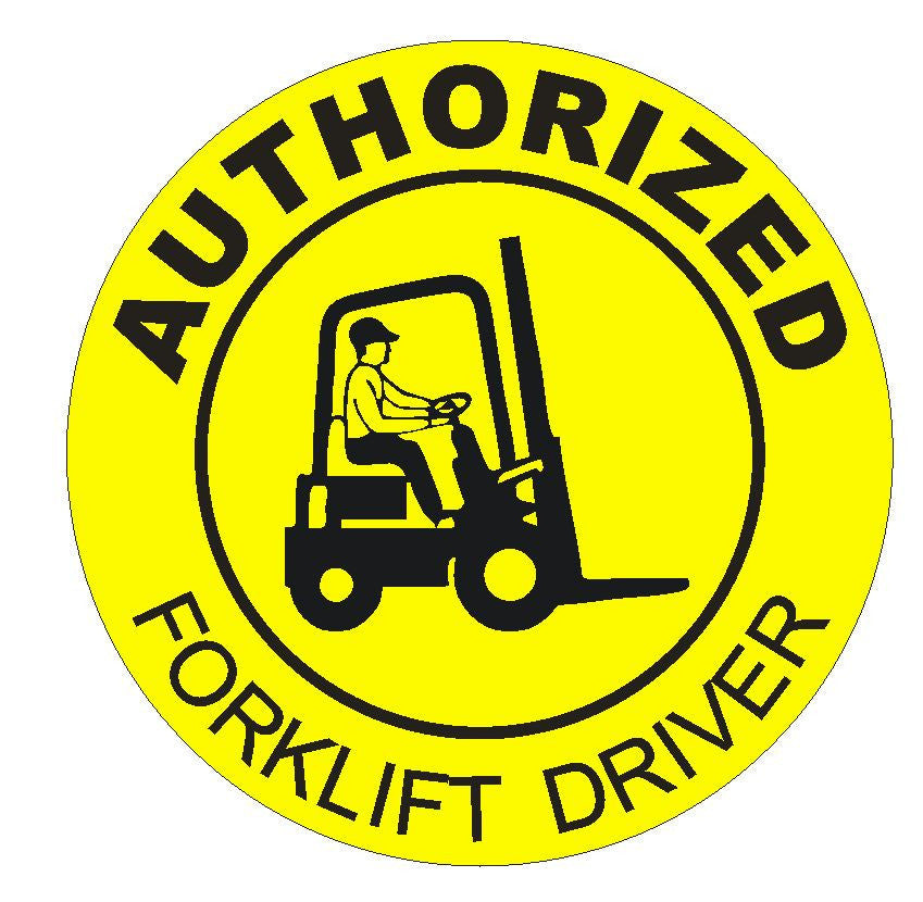 Authorized Forklift Driver Hard Hat Decal Helmet Sticker Safety Label H1 - Winter Park Products