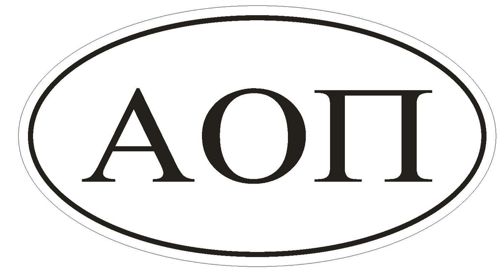 Alpha Omicron Pi Sorority EURO OVAL Bumper Sticker or Helmet Sticker D580 - Winter Park Products