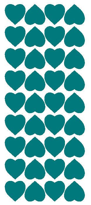 "Turquoise 1"" Heart Stickers BRIDAL SHOWER Wedding Envelope Seals School arts & Crafts - Winter Park Products"