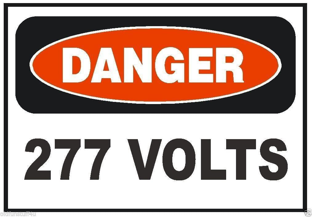 Danger 277 Volt Electrical Electrician OSHA Safety Sign Sticker D220 - Winter Park Products