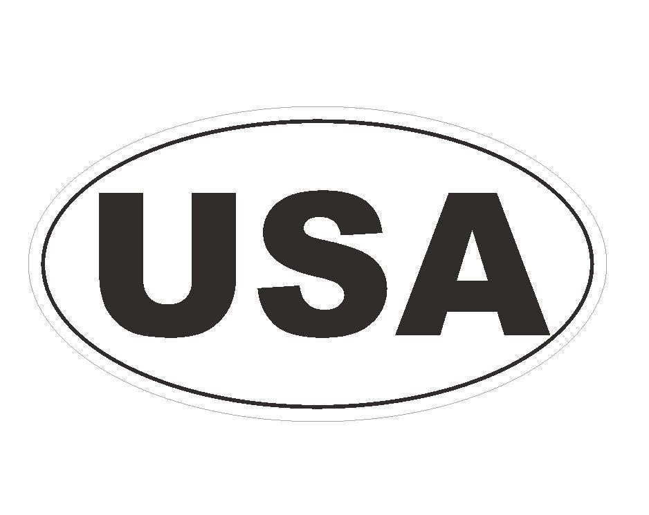 United States USA EURO OVAL Bumper Sticker or Helmet Sticker D137 - Winter Park Products
