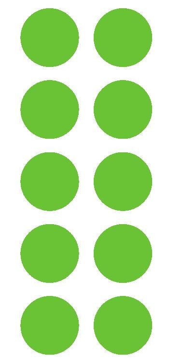 "2"" Lime Green Round Color Coded Inventory Label Dots Stickers - Winter Park Products"