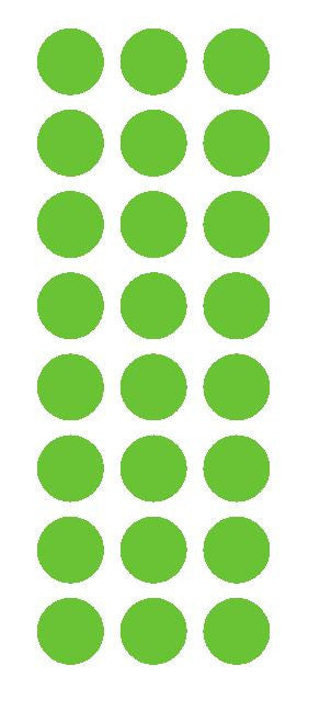 "1"" Lime Green Round Vinyl Color Code Inventory Label Dot Stickers - Winter Park Products"
