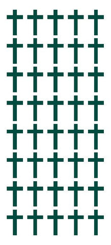 "1"" Dk Green Cross Stickers Envelope Seals Religious Church School arts Crafts - Winter Park Products"