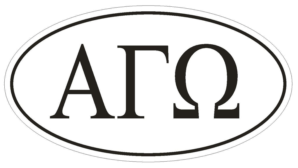 Alpha Gamma Omega Fraternity EURO OVAL Bumper Sticker or Helmet Sticker D600 - Winter Park Products