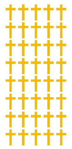 "1"" Golden Yellow Cross Stickers Envelope Seals Religious Church arts Crafts - Winter Park Products"
