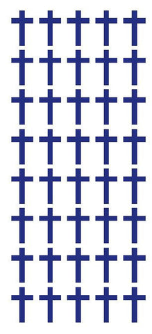 "1"" Dk Blue Cross Stickers Envelope Seals Religious Church School arts Crafts - Winter Park Products"