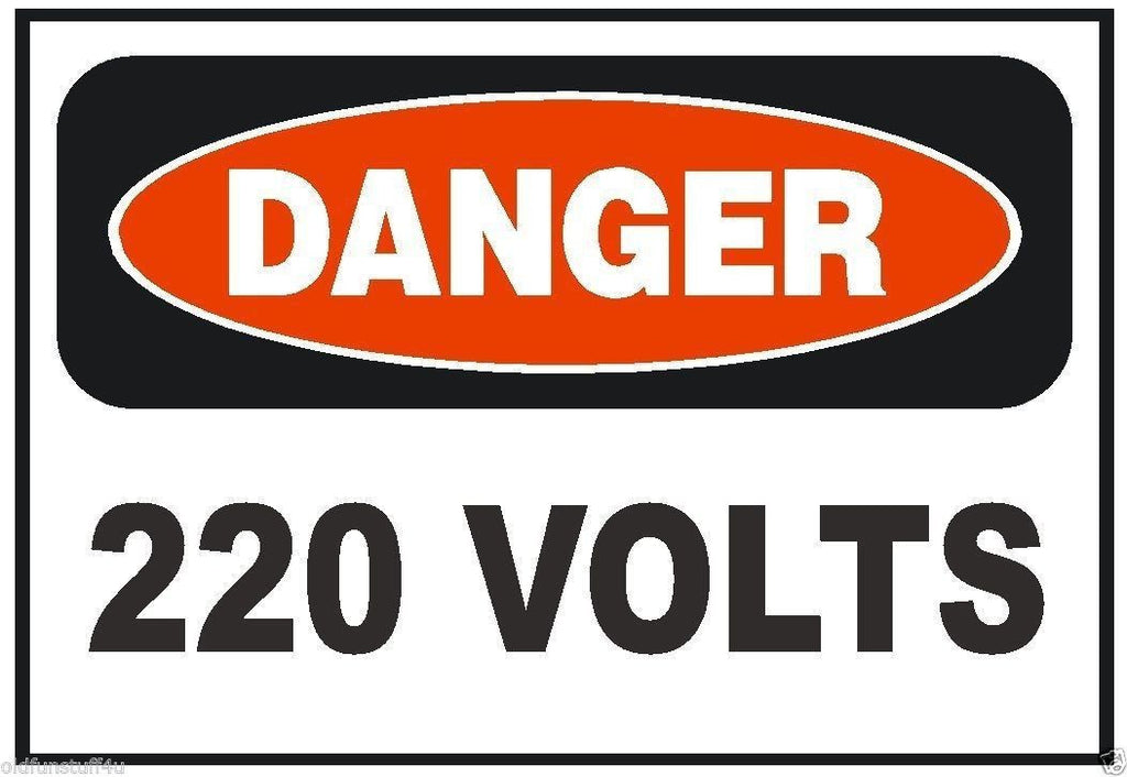Danger 220 Volt Electrical Electrician OSHA Safety Sign Sticker D217 - Winter Park Products