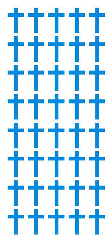 "1"" Med Blue Cross Stickers Envelope Seals Religious Church School arts Crafts - Winter Park Products"