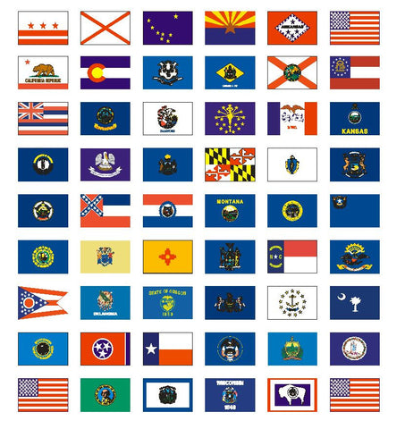 "50 U.S. State Flag Stickers 1"" x 1-1/2"" Plus 4 more Free - Winter Park Products"