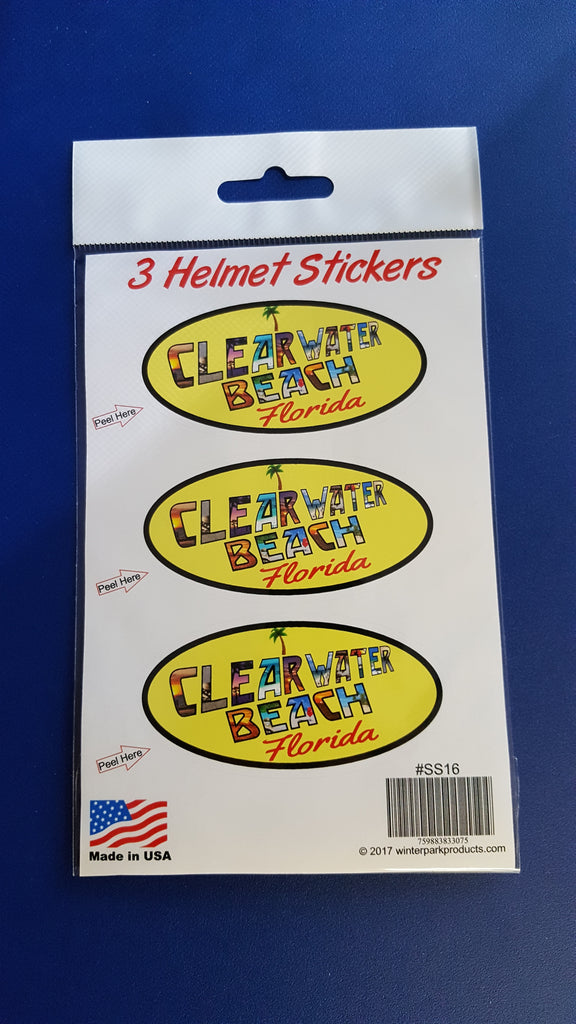3 Pack Clearwater Beach Florida Helmet Sticker SS16 Wholesale Fundraiser