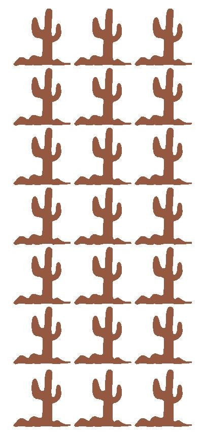 "1-1/4"" Brown Cactus Stickers Western Desert Envelope Seals School arts Crafts - Winter Park Products"