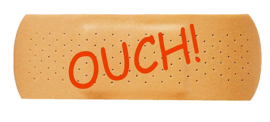 OUCH Band Aid Funny Bumper Sticker or Helmet Sticker D626 Cover Dents or Scrapes - Winter Park Products