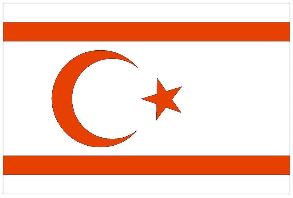 NORTHERN CYPRUS Vinyl International Flag DECAL Sticker USA MADE F358 - Winter Park Products