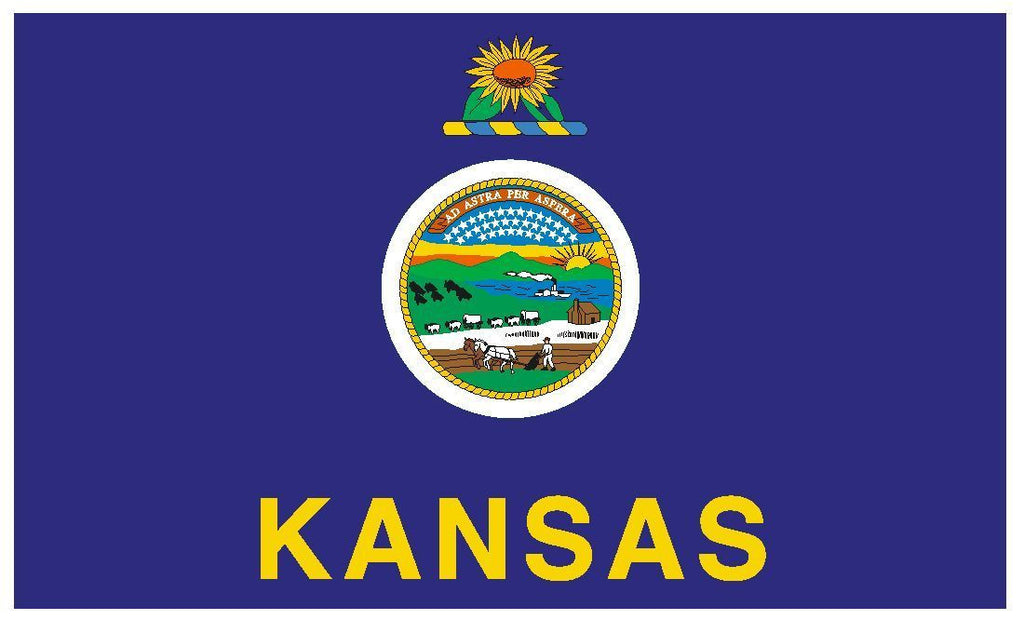 KANSAS Vinyl State Flag DECAL Sticker MADE IN THE USA F251 - Winter Park Products
