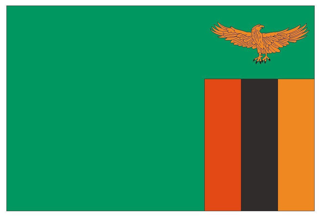 ZAMBIA Vinyl International Flag DECAL Sticker MADE IN USA F568 - Winter Park Products