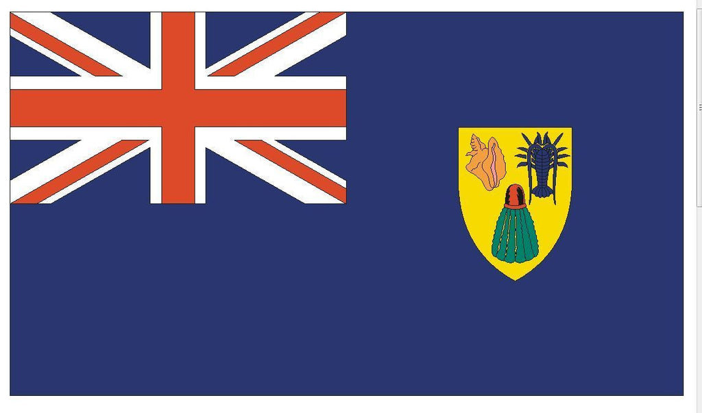 TURKS AND CAICOS Vinyl International Flag DECAL Sticker MADE IN THE USA F518 - Winter Park Products