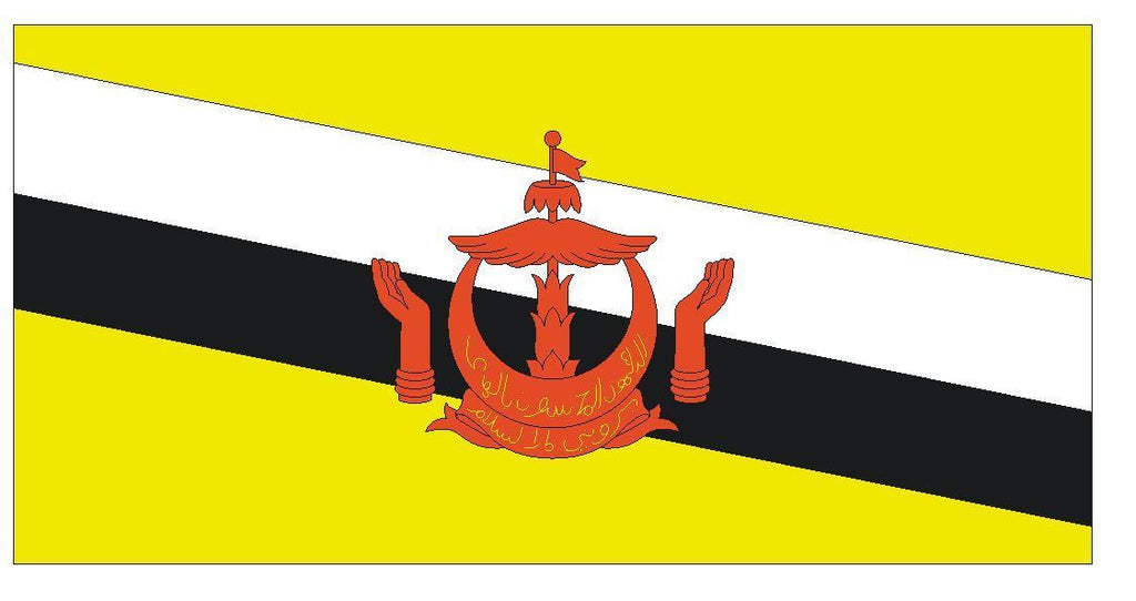 BRUNEI Flag Vinyl International Flag DECAL Sticker MADE IN USA F72 - Winter Park Products