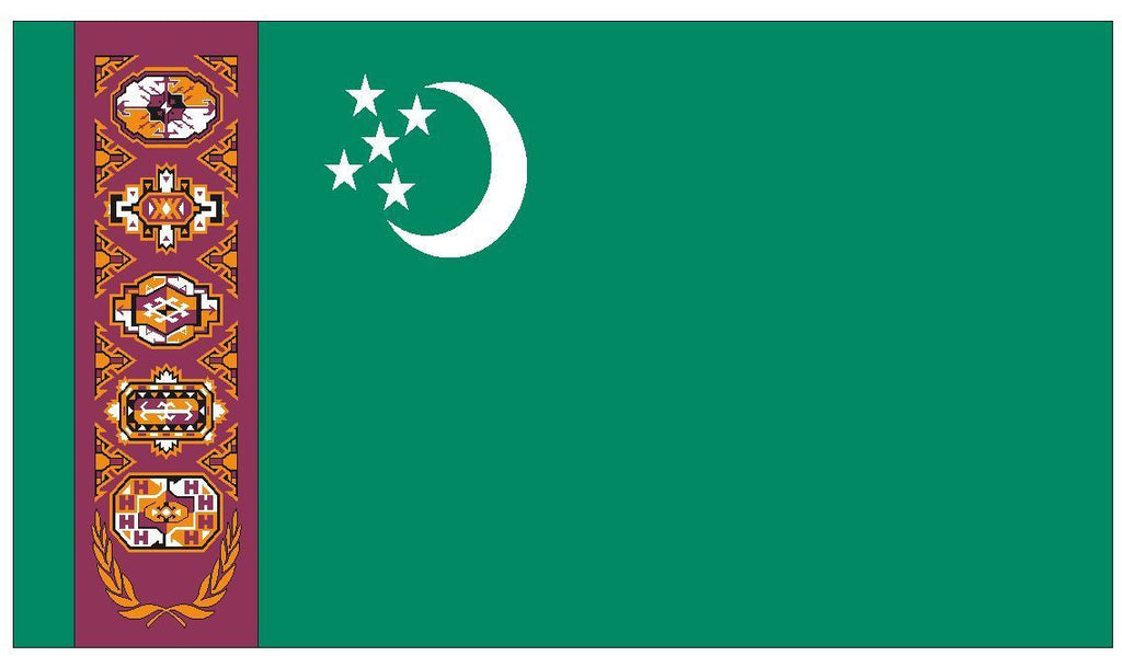 TURKMENISTAN Vinyl International Flag DECAL Sticker MADE IN THE USA F516 - Winter Park Products
