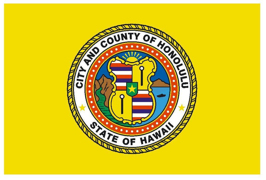 Honolulu Hawaii Vinyl City Flag DECAL Sticker MADE IN USA F573 - Winter Park Products