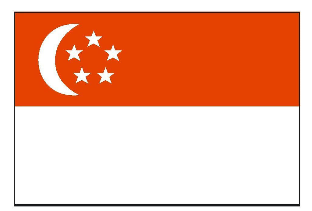 SINGAPORE Vinyl International Flag DECAL Sticker MADE IN THE USA F458 - Winter Park Products
