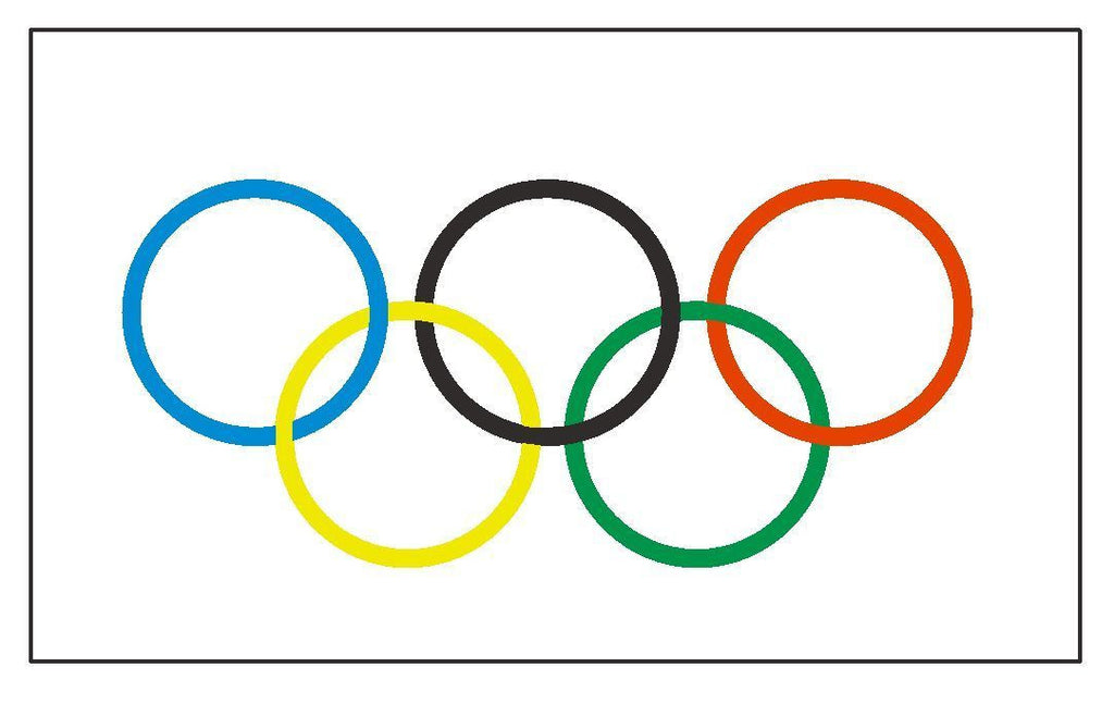 OLYMPIC FLAG Vinyl International Flag DECAL Sticker MADE IN THE USA F413 - Winter Park Products