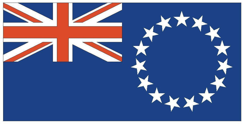 COOK ISLANDS Vinyl International Flag DECAL Sticker MADE IN THE USA F116 - Winter Park Products