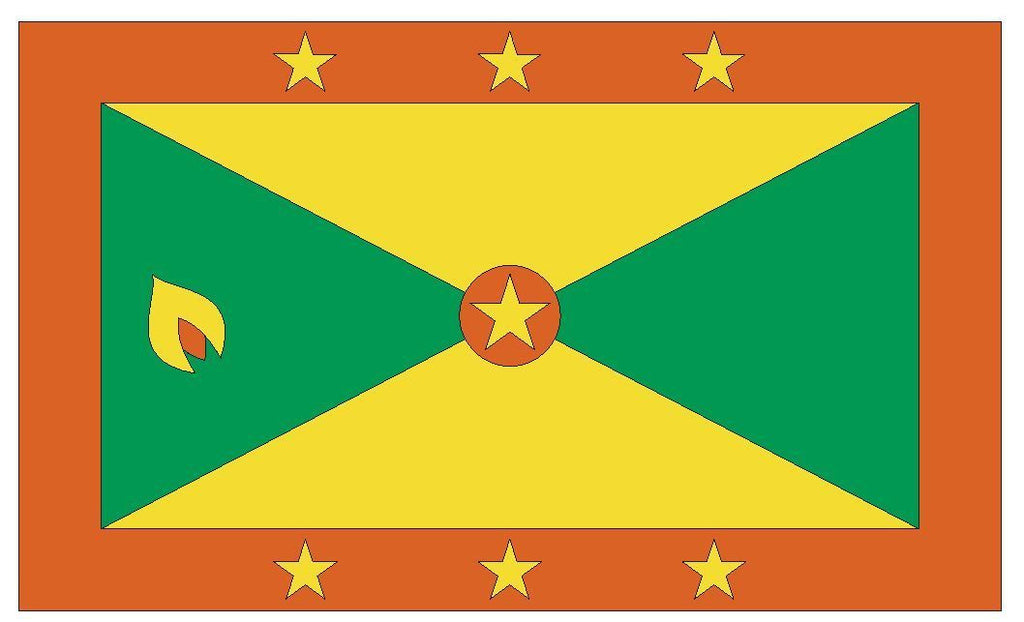 GRENADA Vinyl International Flag DECAL Sticker MADE IN THE USA F197 - Winter Park Products