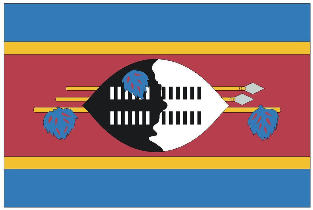 SWAZILAND Vinyl International Flag DECAL Sticker MADE IN THE USA F485 - Winter Park Products