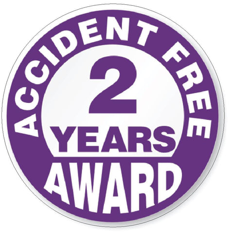 Accident Free 2 Year Award Hard Hat Decal Hard Hat Sticker Helmet Safety H49 - Winter Park Products