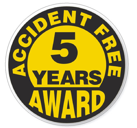 Accident Free 5 Year Award Hard Hat Decal Hard Hat Sticker Helmet Safety H52 - Winter Park Products