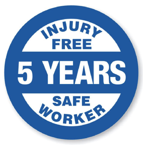 5 Year Safe Worker Award Hard Hat Decal Hardhat Sticker Helmet Label H113 - Winter Park Products