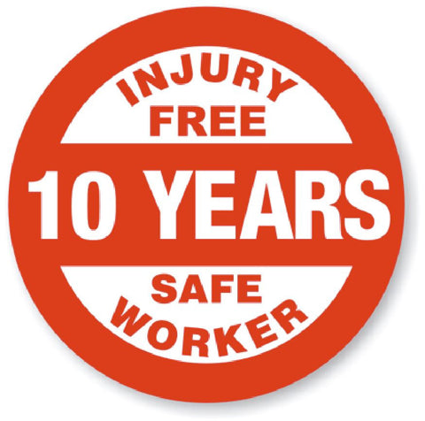 10 Year Safe Worker Award Hard Hat Decal Hardhat Sticker Helmet Label H114 - Winter Park Products
