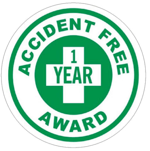 Accident Free 1 Year Award Hard Hat Decal Hardhat Sticker Helmet Label H142 - Winter Park Products