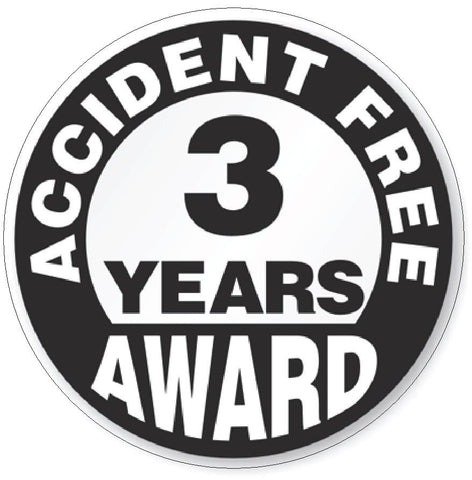 Accident Free 3 Year Award Hard Hat Decal Hard Hat Sticker Helmet Safety H50 - Winter Park Products