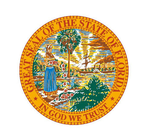 "Pack of 75 Florida State Seal 3"" Vinyl Sticker R6 - Winter Park Products"