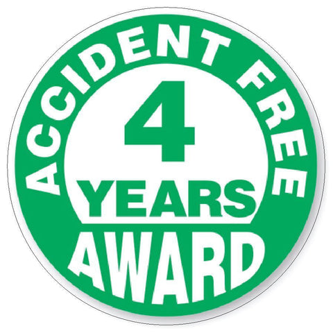 Accident Free 4 Year Award Hard Hat Decal Hard Hat Sticker Helmet Safety H51 - Winter Park Products